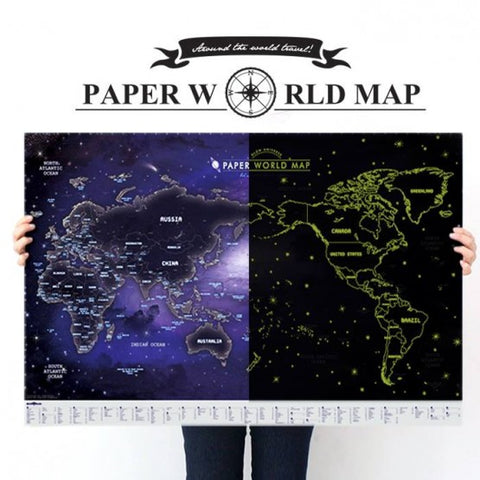 Indigo Paper World Map Glow