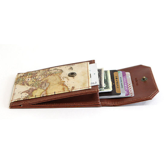 Indigo Indimap Neck Card Pocket Vintage Brown