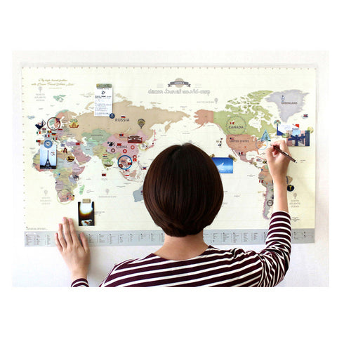 Indigo Deco Travel World Map Pastel ( with stickers)