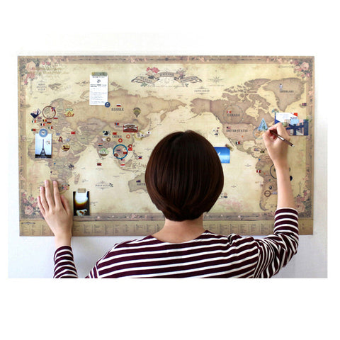 Indigo Deco Travel World Map Antique ( with stickers)
