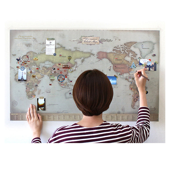 Indigo Deco Travel World Map Retro ( with stickers)