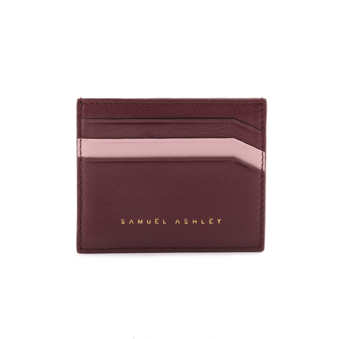 Samuel Ashley Jilian Card Holder Maroon