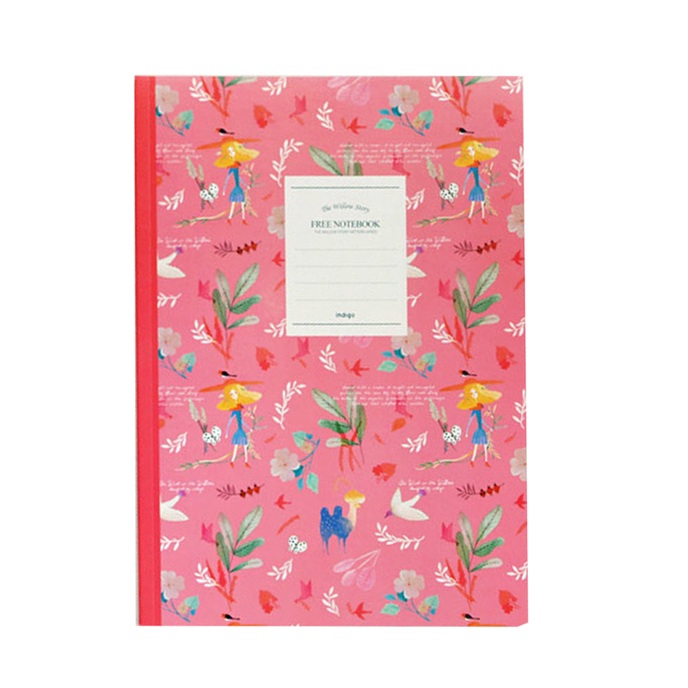 Indigo Willow Story Pattern Line Notebook Hot Pink