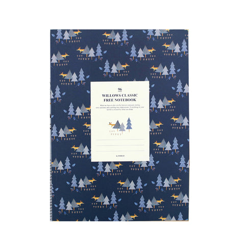 Indigo Willow Story Pattern Line Notebook Navy
