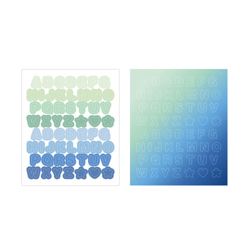Indigo Gi-bon Sticker Alphabet Green and Blue