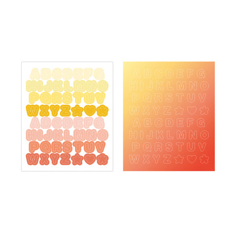 Indigo Gi-bon Sticker Alphabet Yellow and Red