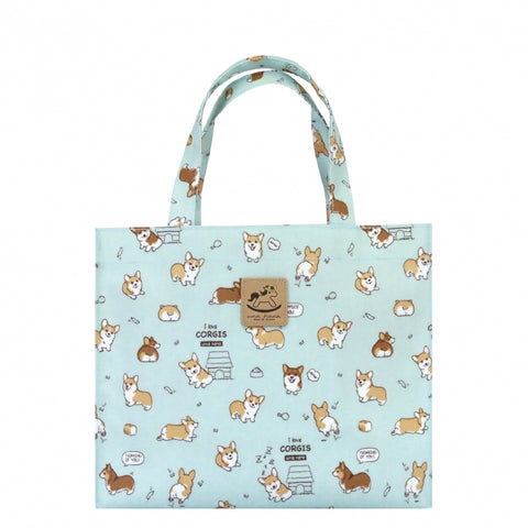 Uma hana Baby Corgi Horizontal A4 Document Bag Sky Blue
