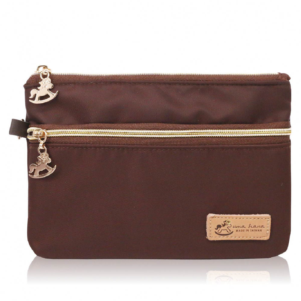 Double Zipper Storage Pouch with Wristlet Premium Brown