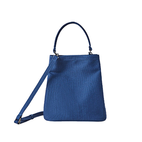 ITHINKSO Canvas Bucket Bag Blue