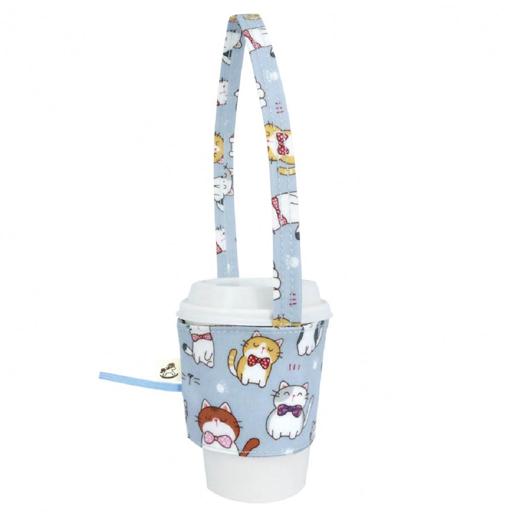 Uma hana Drink Cup Holder Cat Bow Tie Sky Blue