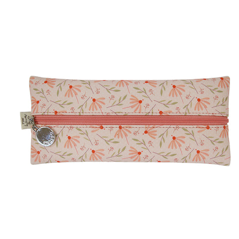 Indigo Willow V.4 Zipper Pencil Case Coral Flower