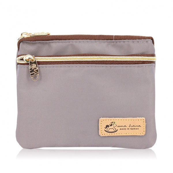 Uma hana Premium Monochrome Triple Zipper Coin Pouch Grey