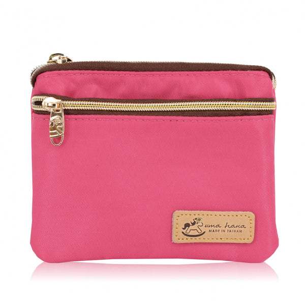 Uma hana Premium Monochrome Triple Zipper Large Coin Purse Pink