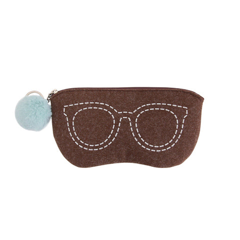 Indigo Basic Felt V.5 Glasses Pouch Brown