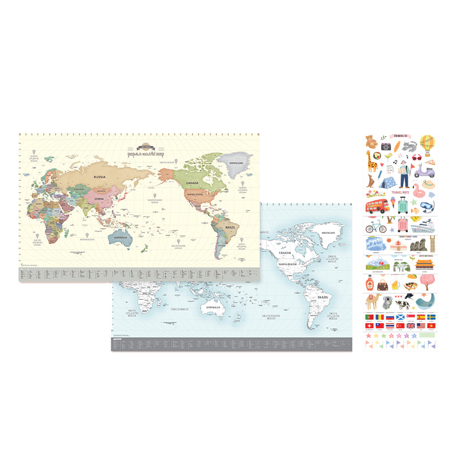 Indigo Sticker Colouring World Set (2 Maps -1 Pastel, 1 Colouring )