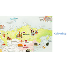 Load image into Gallery viewer, Indigo Sticker Colouring World Set (2 Maps -1 Pastel, 1 Colouring )