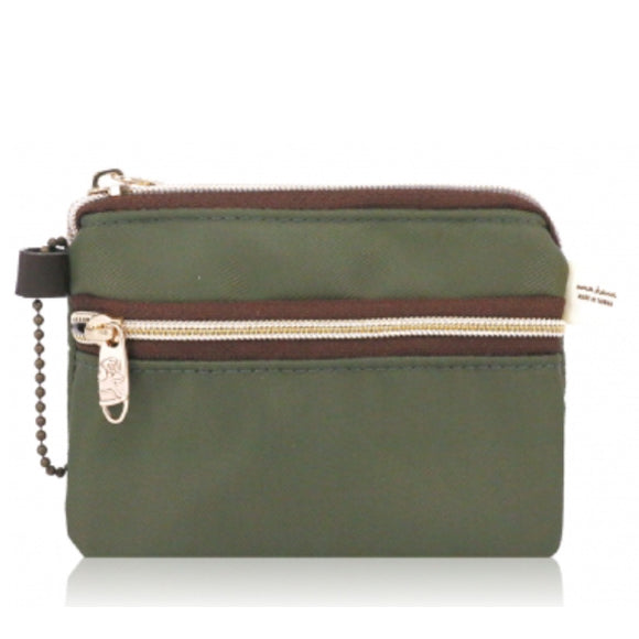 Double Zipper Coin Purse S Premium Khaki