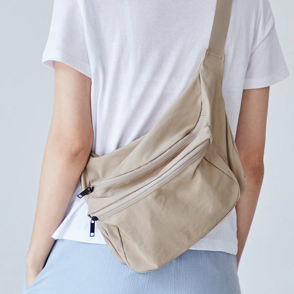 ITHINKSO Matt Cross X Shoulder Bag Beige