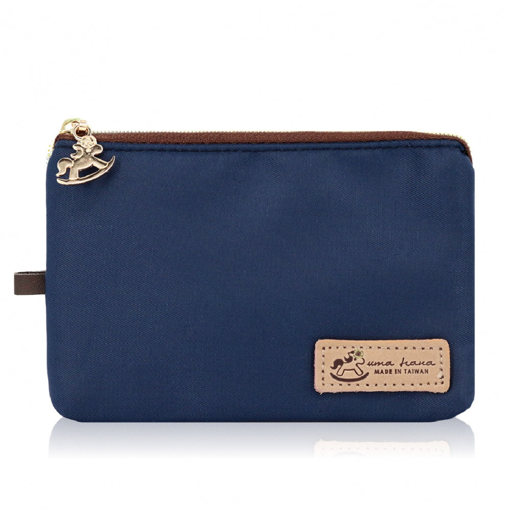 Uma hana Premium Monochrome Lanyard Card Holder Vertical Navy