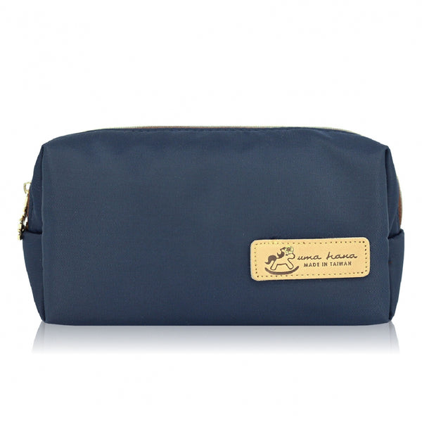 Uma hana Premium Monochrome Waterproof Rectangular Cosmetic Pouch Navy