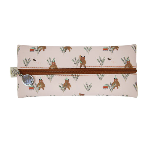 Indigo Willow V.4 Zipper Pencil Case Pink Bear