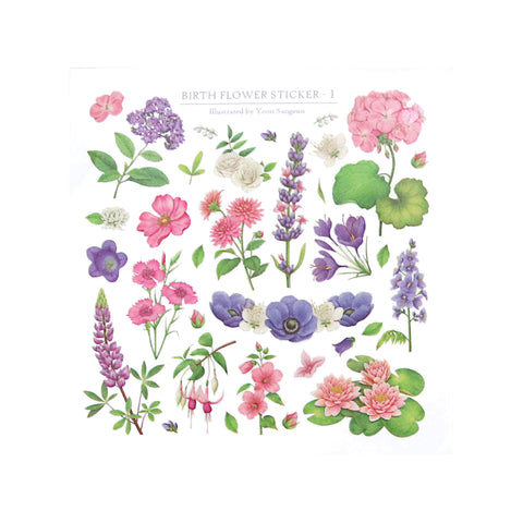 Indigo Birth Flower Sticker Purple Set