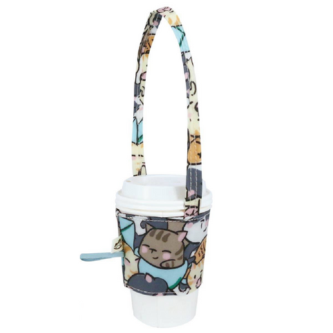 Uma hana Drink Cup Holder Rice Bowl Cat Green
