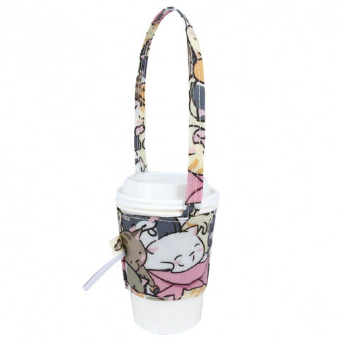 Uma hana Drink Cup Holder Rice Bowl Cat Pink