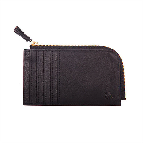 Samuel Ashley Peyton Card Case with Zip Pocket Black