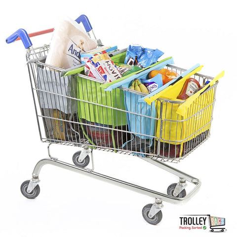 Reusable Grocery Shopping Trolley Bags Original (Set of 4 Bags) Pastel