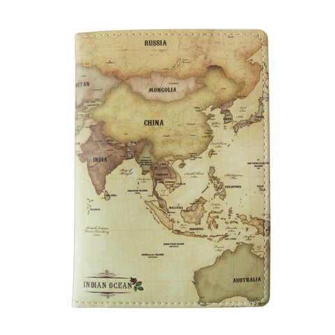 Indigo World Map Passport Case Antique