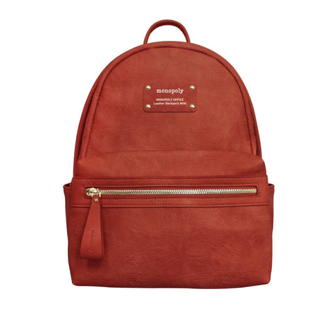 Monopoly Office Leather Backpack Mini Burnt Orange