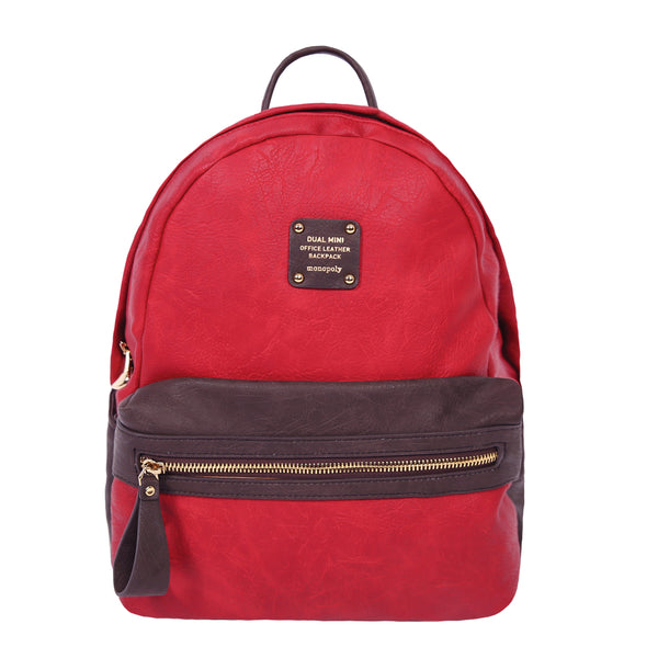Monopoly Dual Office Leather Backpack Choco Red