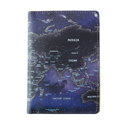 Indigo World Map Passport Case Glow