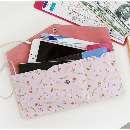 Indigo Willow Pattern Passport Wallet Pink