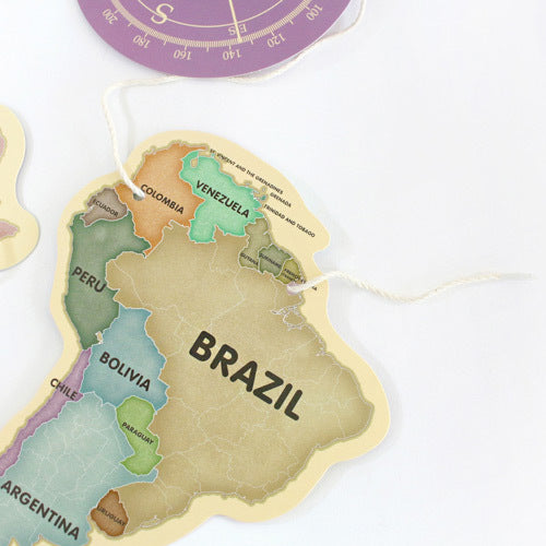 Indigo World Map Garland Pastel ( decoration )