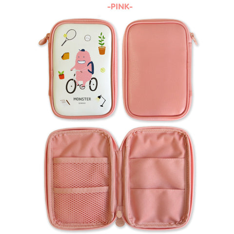 Indigo Monster's Pencil Pouch ( Wide) Pink