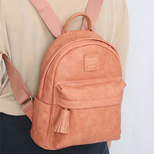 Monopoly Cute Office Leather Backpack Indian Pink