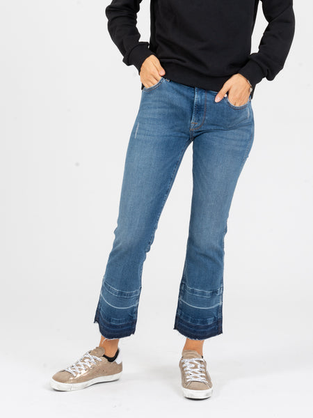 Cropped boot ankle flare denim medio