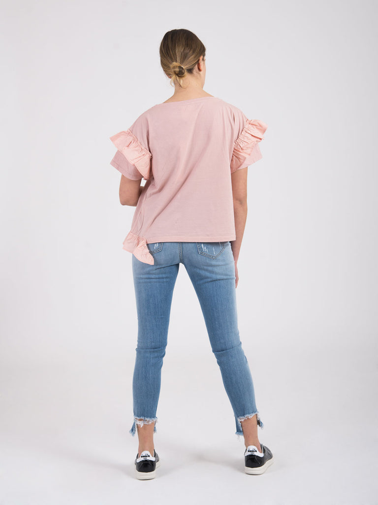 SEMICOUTURE - T-shirt rosa con voulant