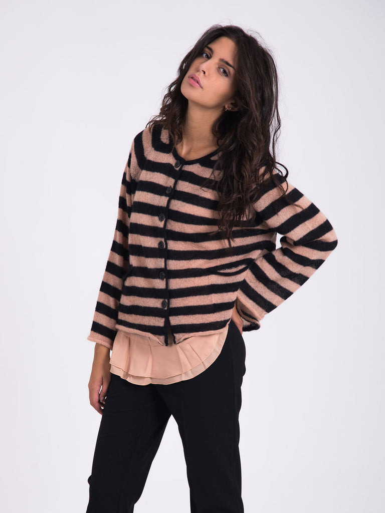 TWIN-SET COLL. - Cardigan con top cipria/nero