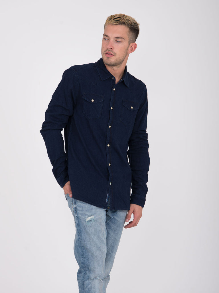 SCOTCH & SODA - Camicia denim scuro a costine