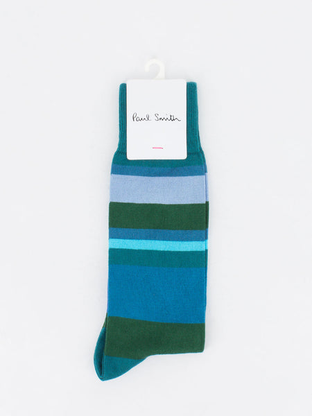 PAUL SMITH - Calzini split stripe verde petrolio/multicolor