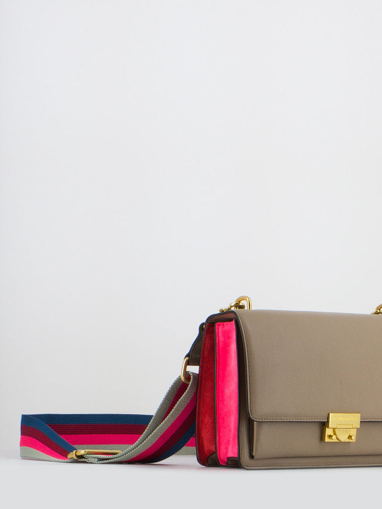 REBECCA MINKOFF - Borsetta medium christy taupe/rosa fluo/rosso