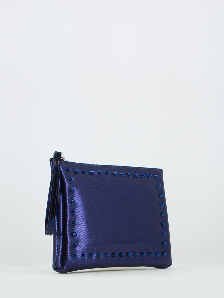 GUM - Pochette numbers media blu con borchie
