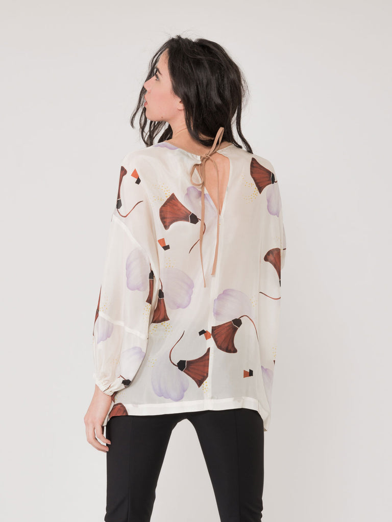 ALYSI - Blusa could latte con stampa