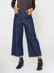 ALYSI - Jeans cropped in denim scuro