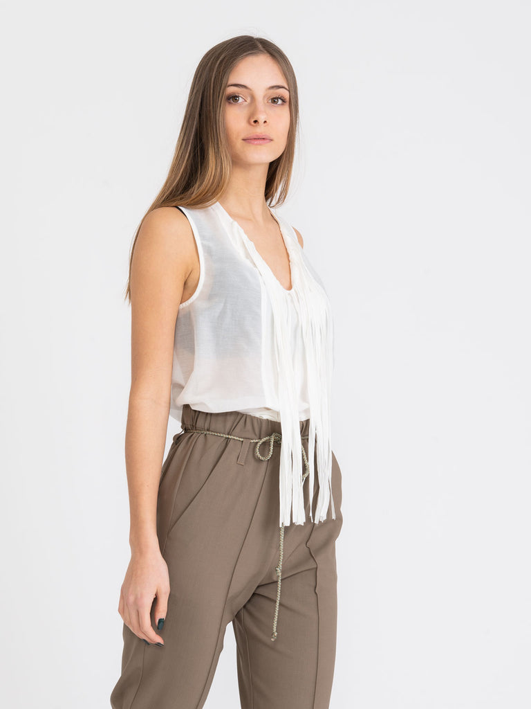 ALYSI - Top voile washed con frange latte