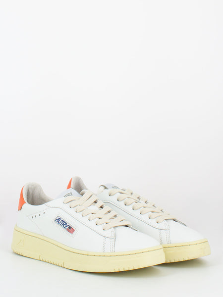 Dallas low in pelle bianco / coral