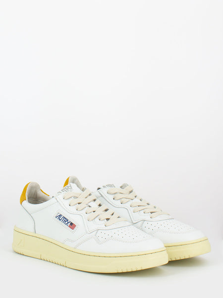 Sneakers 01 low pelle e nabuck bianco / gold